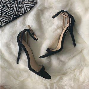 NEW! Black Suede Stiletto Heels w/ Ankle Strap